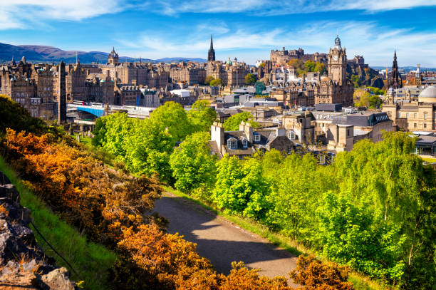 View over historic Edinburgh from Calton Hill, Scotland, UK View over historic Edinburgh from Calton Hill, Scotland, UK princes street edinburgh stock pictures, royalty-free photos & images