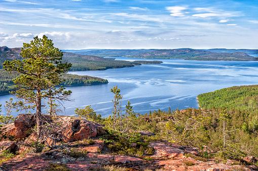 View over Hoga Kusten area in northern Sweden
