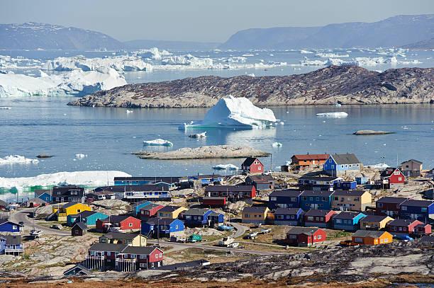 View over Illulisat, Greenland stock photo