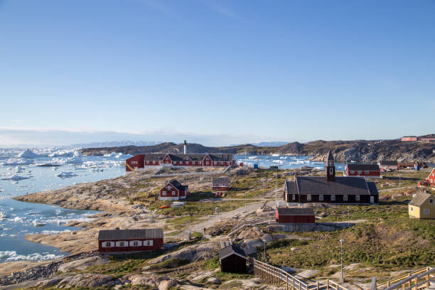 View over Ilulissat, Greenland stock photo