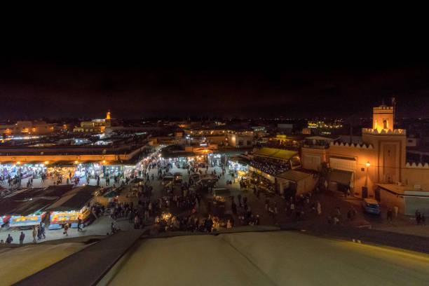 View over Jemma el Fnaa Square at night stock photo