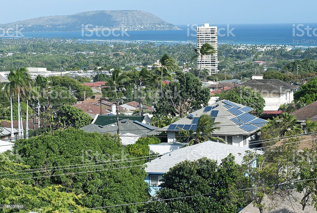 View over Kahala to Koko Head on Oahu HI stock photo