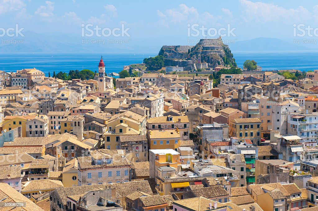 View over kerkyra town on the Island of Corfu Greece stock photo
