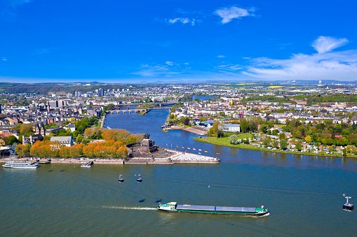 View over Koblenz and the rivers Rhine and Moselle from Fortress Ehrenbreitstein.