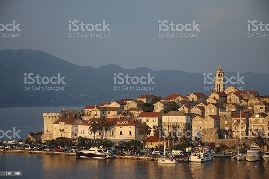 View over Korcula old city during sunset, Croatia stock photo