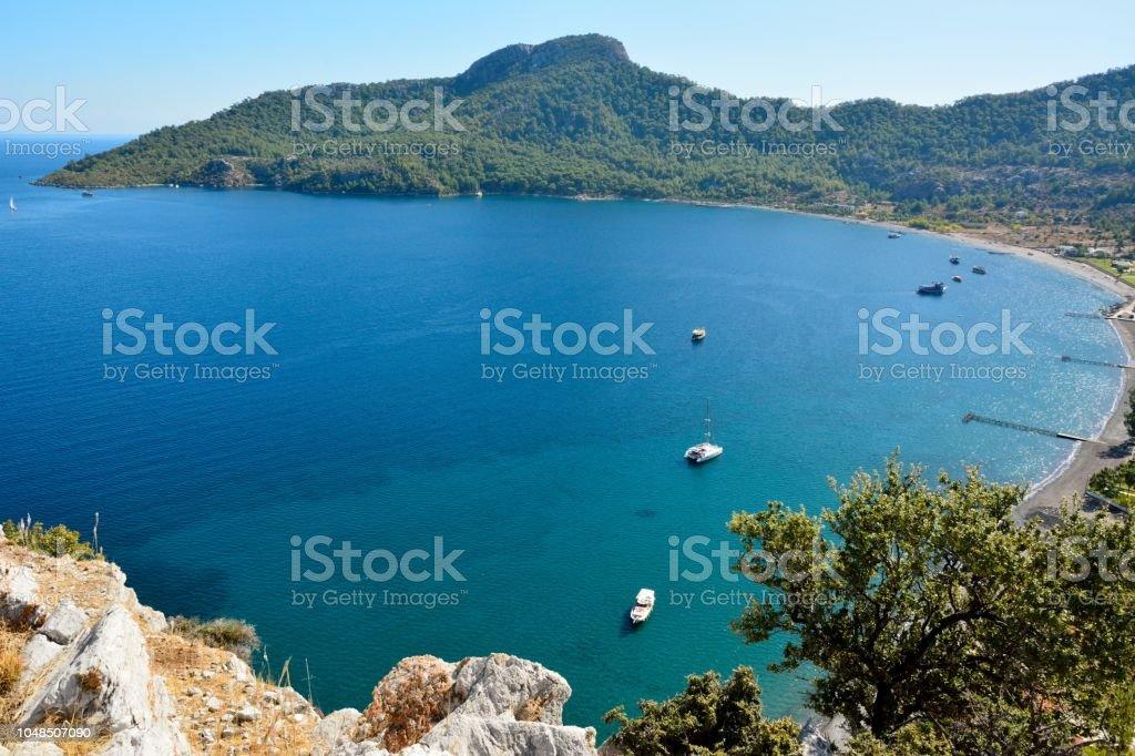 Kumlubük Koyu Türkiye Bozburun Yarımadası üzerinde görüntüleyin. stok fotoğrafı