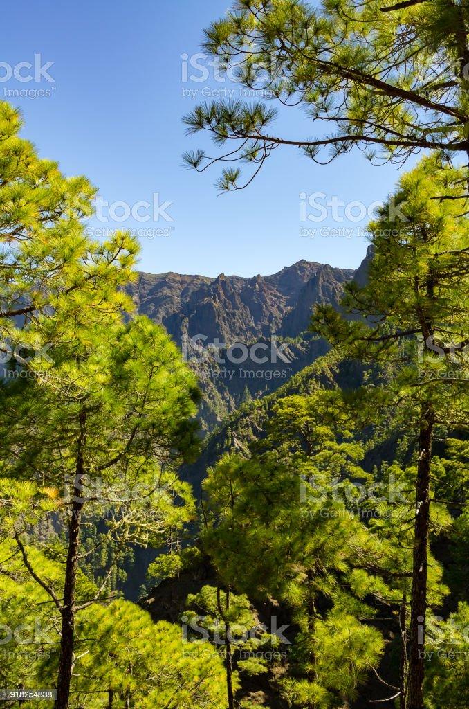 Blick auf La Palma, der Caldera de Taburiente, reichen vom Aussichtspunkt Cumbrecita – Foto