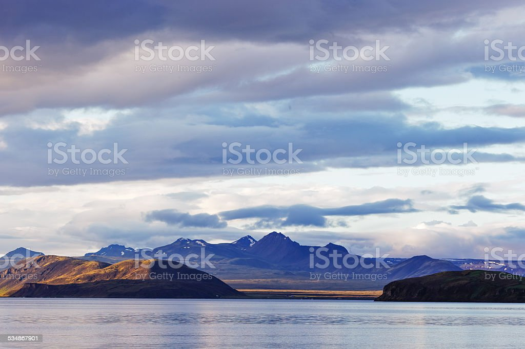 View over lake in Iceland stock photo