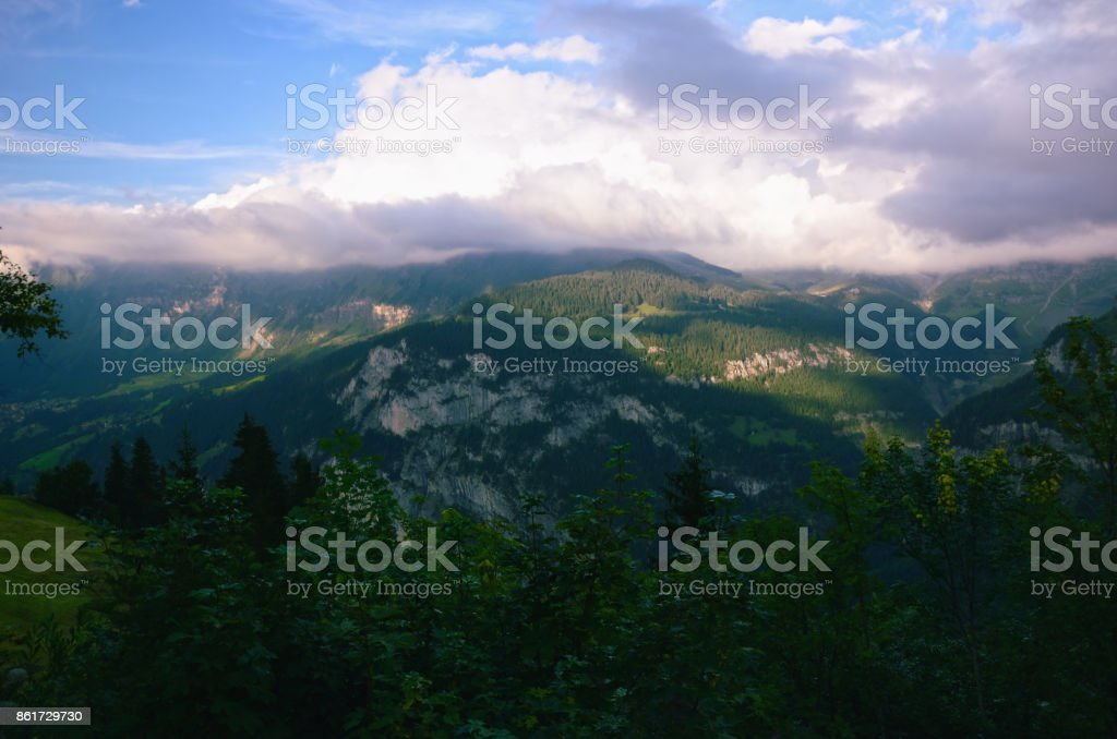 View over Lauterbrunnen Valley, Switzerland stock photo