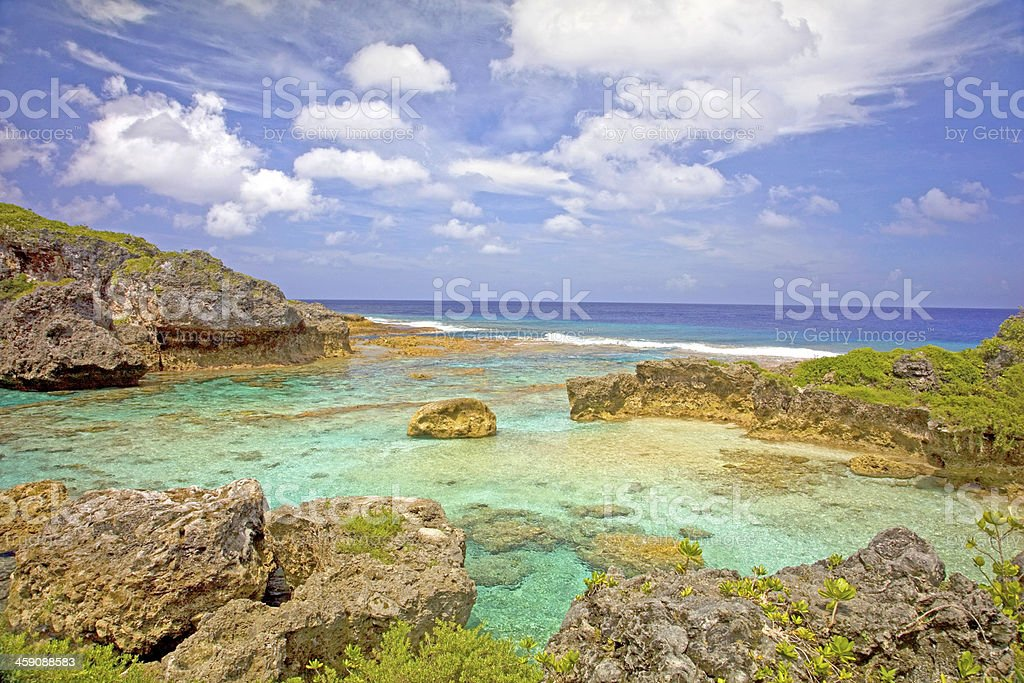 View over Limu Pools towards the ocean, Niue. stock photo
