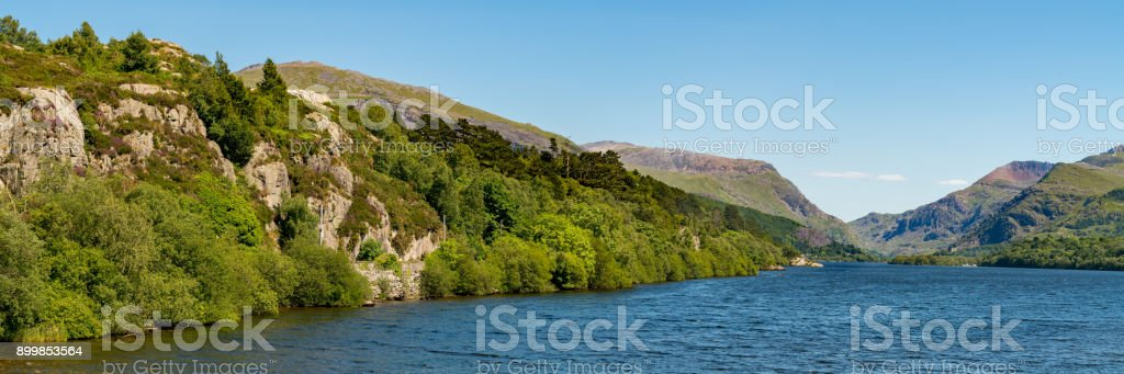View over Llyn Padarn, Wales, UK stock photo