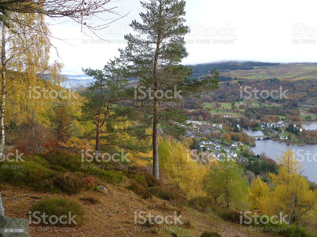 View Over Loch Tay And Aberfeldy stock photo