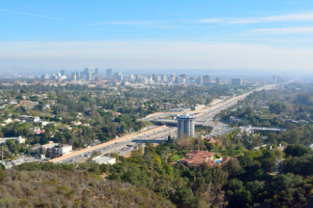 View over Los Angeles toward Century City View over Los Angeles toward Century City district and San Diego freeway. ucla stock pictures, royalty-free photos & images