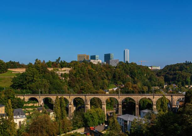 View over Luxembourg to the EU quarter from the Casemates de la Pétrusse stock photo