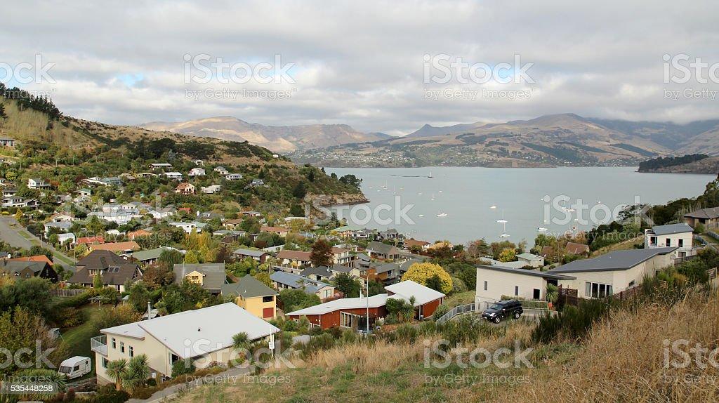 View over Lyttelton, New Zealand stock photo