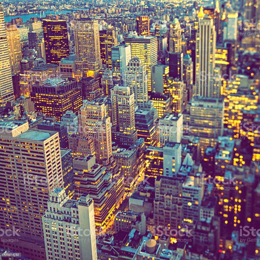 View over Manhattan View over Manhattan. Shot with Tilt/shift lens. 2015 Stock Photo