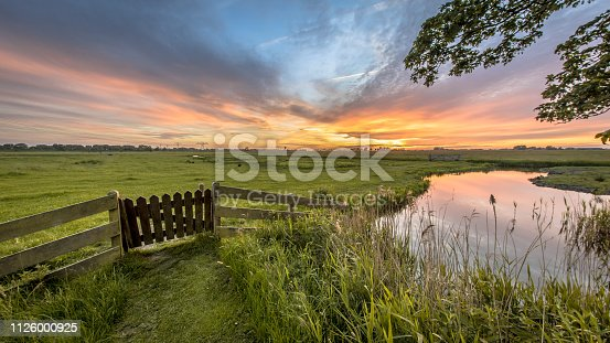 View from backyard of farm over agricultural landscape of dutch countryside in Groningen Netherlands