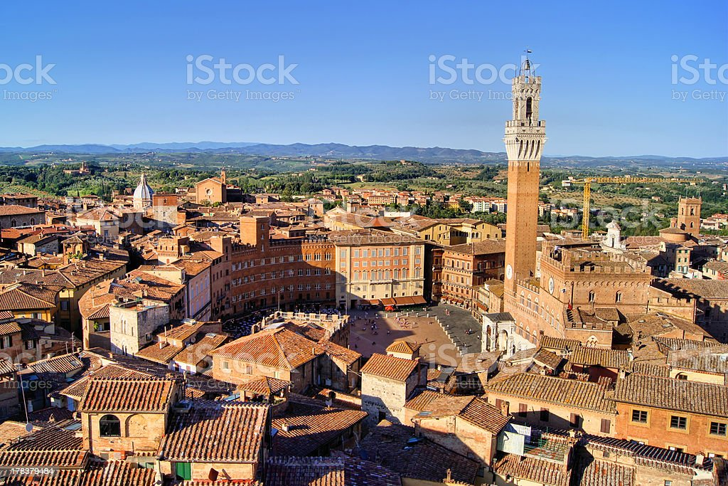 View over medieval Siena stock photo