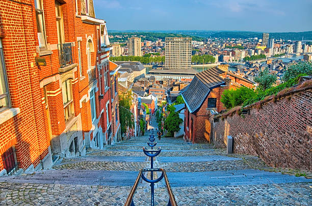 View over montagne de beuren stairway with red brick houses View over montagne de beuren stairway with red brick houses in Liege, Belgium, Benelux, HDR lulik stock pictures, royalty-free photos & images