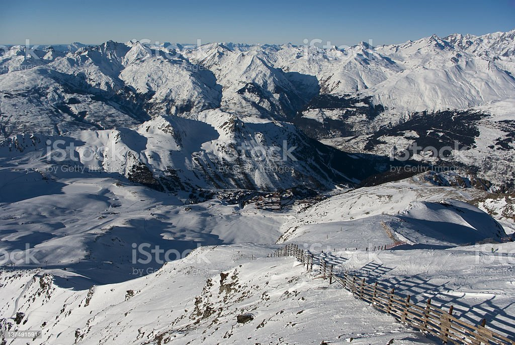 View over mountain village in winter stock photo