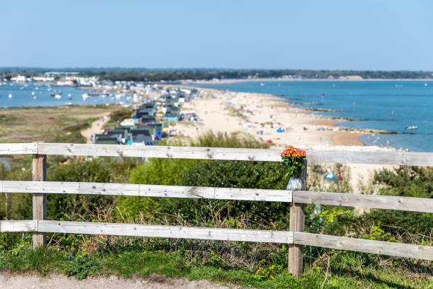 View over Mudeford quay from Hsngistbury Head stock photo