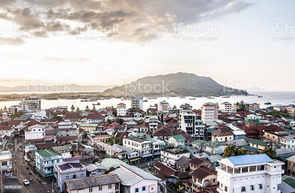 View over Myeik stock photo