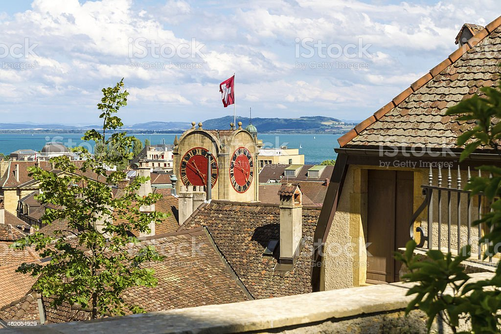 View over Neuchatel stock photo
