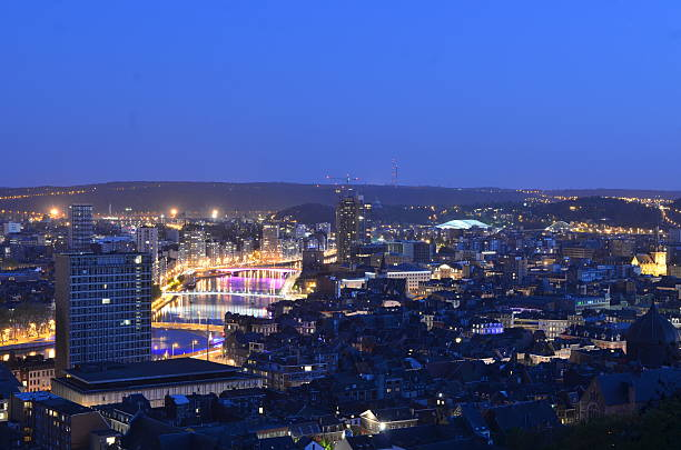 View over night liege taken from the top of citadel. View over night liege taken from the top of citadel. lulik stock pictures, royalty-free photos & images