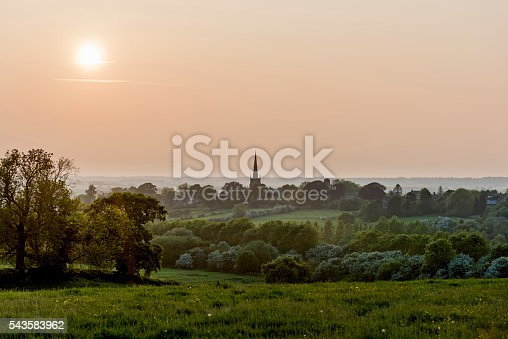 Late evening view looking over a typically english rolling landscape. Photographed looking towards the village of Braunston in Northamptonshire. Colour, horizontal with lots of copy space.