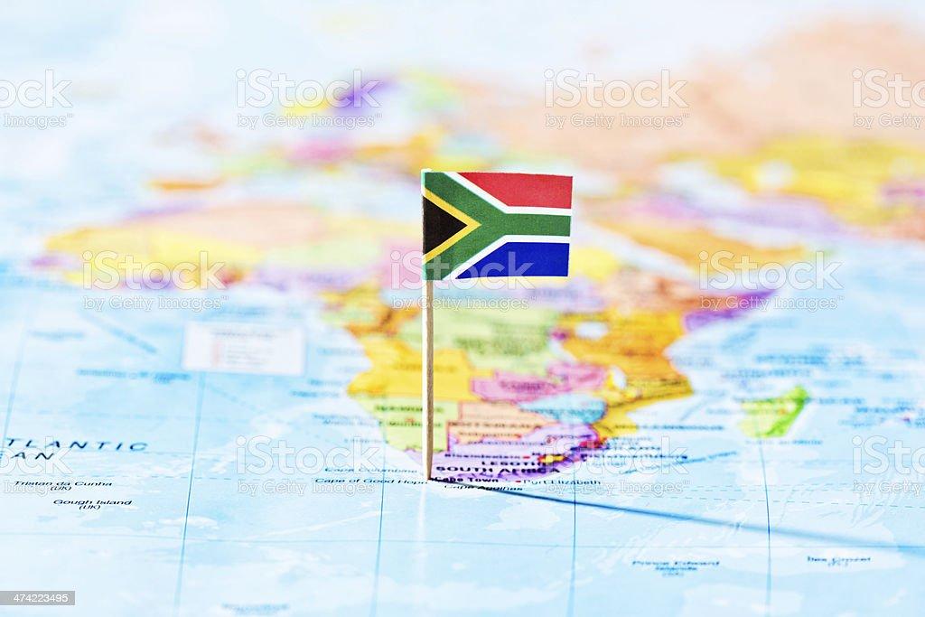 Vista para oceanos de marcação bandeira da África do Sul - foto de acervo