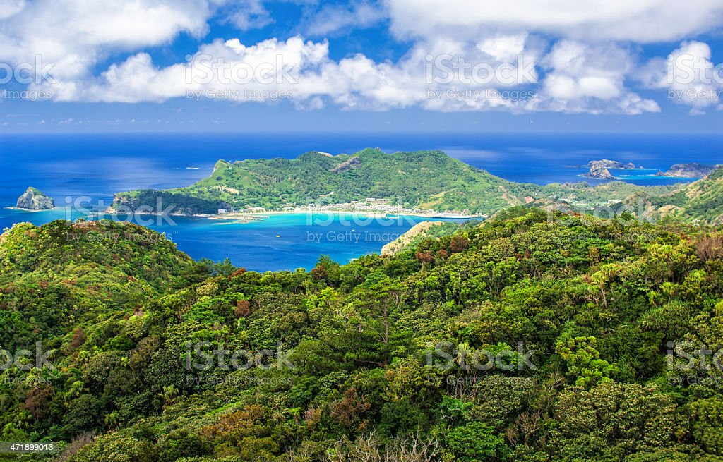View over Ogasawara Islands and Futami Port stock photo