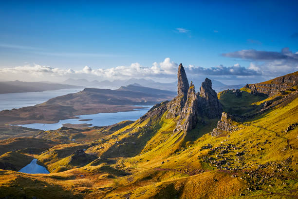 View Over Old Man Of Storr, Isle Of Skye, Scotland stock photo