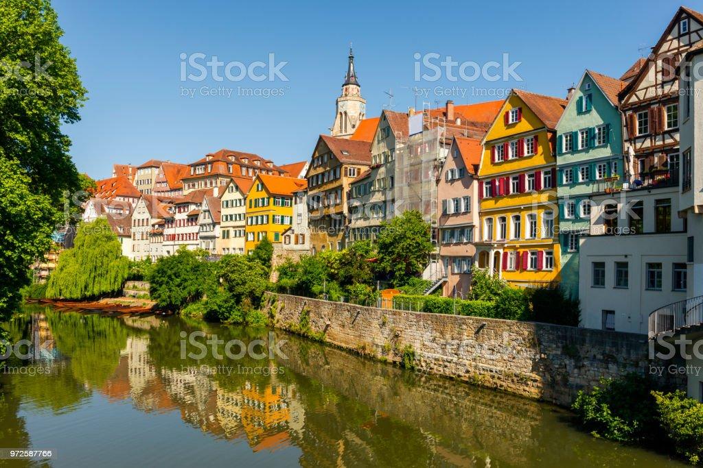 view over old town and Neckar River in Tübingen stock photo