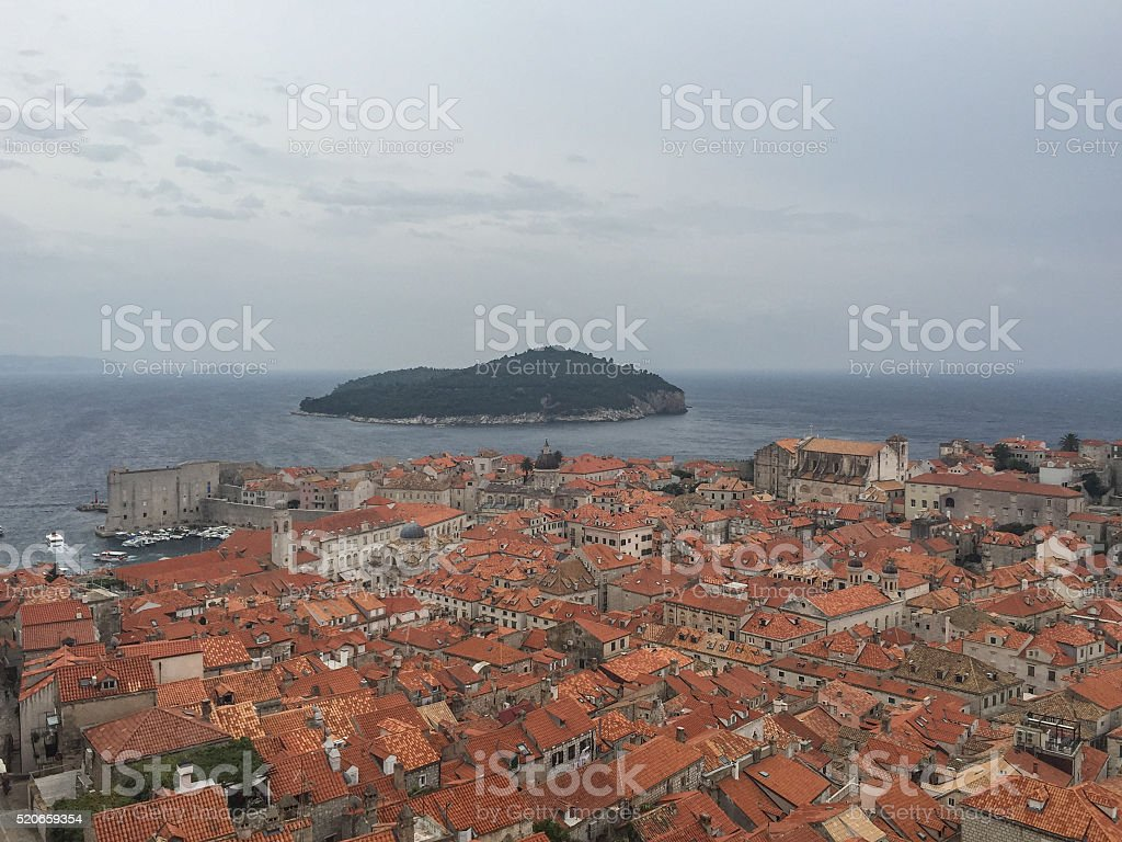 View over Old Town rooftops in Dubrovnik Croatia stock photo