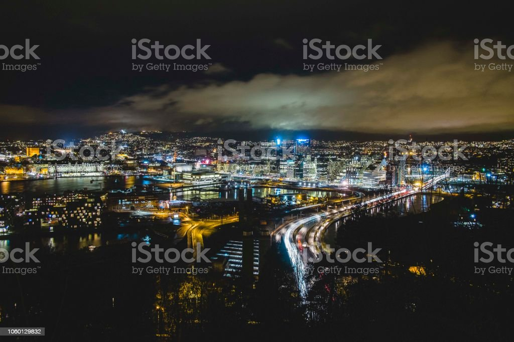 View over Oslo at nighttime stock photo