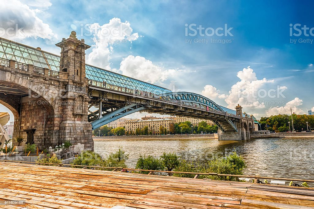 View over Pushkinsky Pedestrian Bridge in central Moscow, Russia stock photo