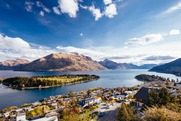 View over Queenstown and Cecil Peak in New Zealand stock photo