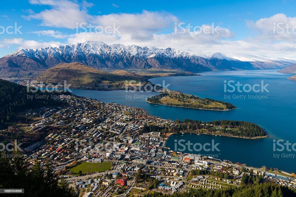 View over Queenstown and Lake Wakatipu stock photo