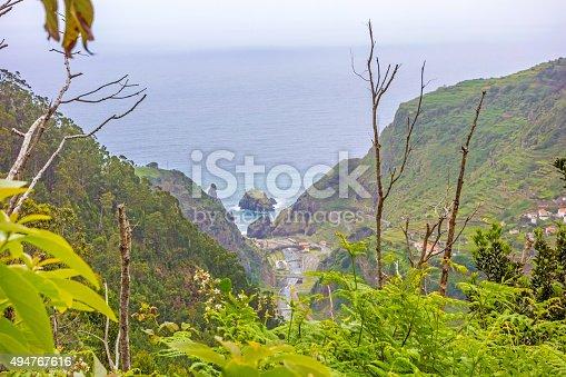 View from the hiking trail Levada do Central da Ribeira da Janela to the Atlantic Ocean