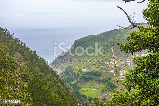 View from the hiking trail Levada do Central da Ribeira da Janela to the Atlantic Ocean