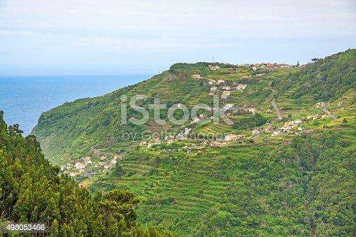 View from the hiking trail Levada do Central da Ribeira da Janela to the Atlantic Ocean, north coast of Madeira