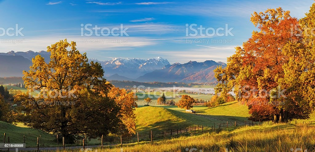 View over Riegsee with Zugspitze in Background at Autumn stock photo