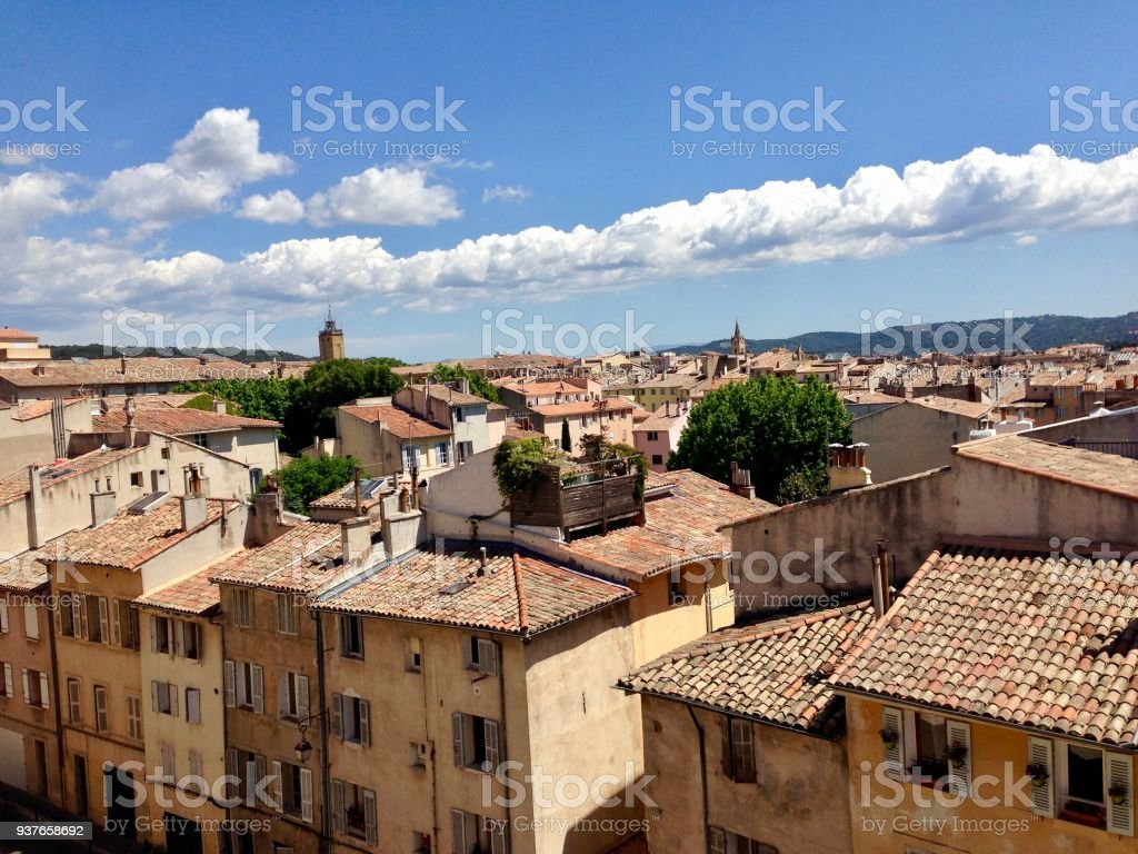View over rooftops of Aix en Provence stock photo