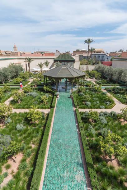 View over Secret Garden in Marrakesh stock photo