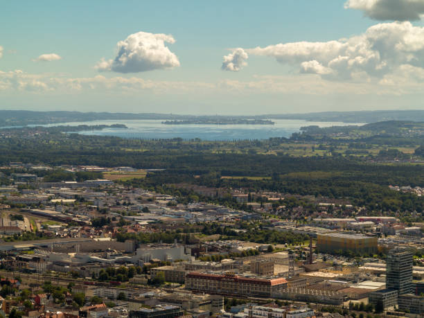 View over Singen am Hohentwiel 8/22/2016, Singen am Hohentwiel, Germany: The image shows the city of Singen and lake Constance. singen stock pictures, royalty-free photos & images