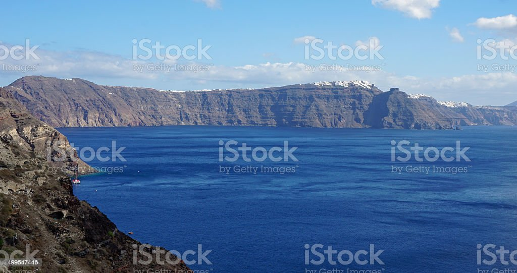 view over small oia village on santorini island stock photo