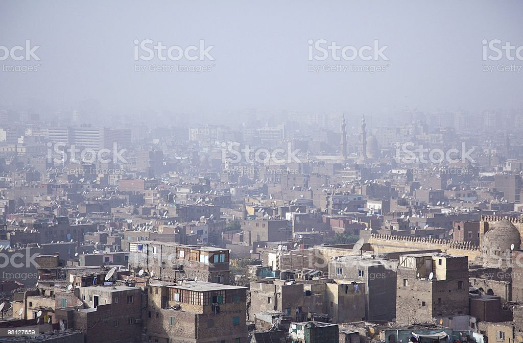 View over smoggy slums of Cairo royalty-free stock photo