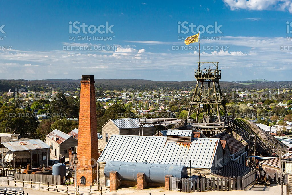 View over Sovereign Hill stock photo