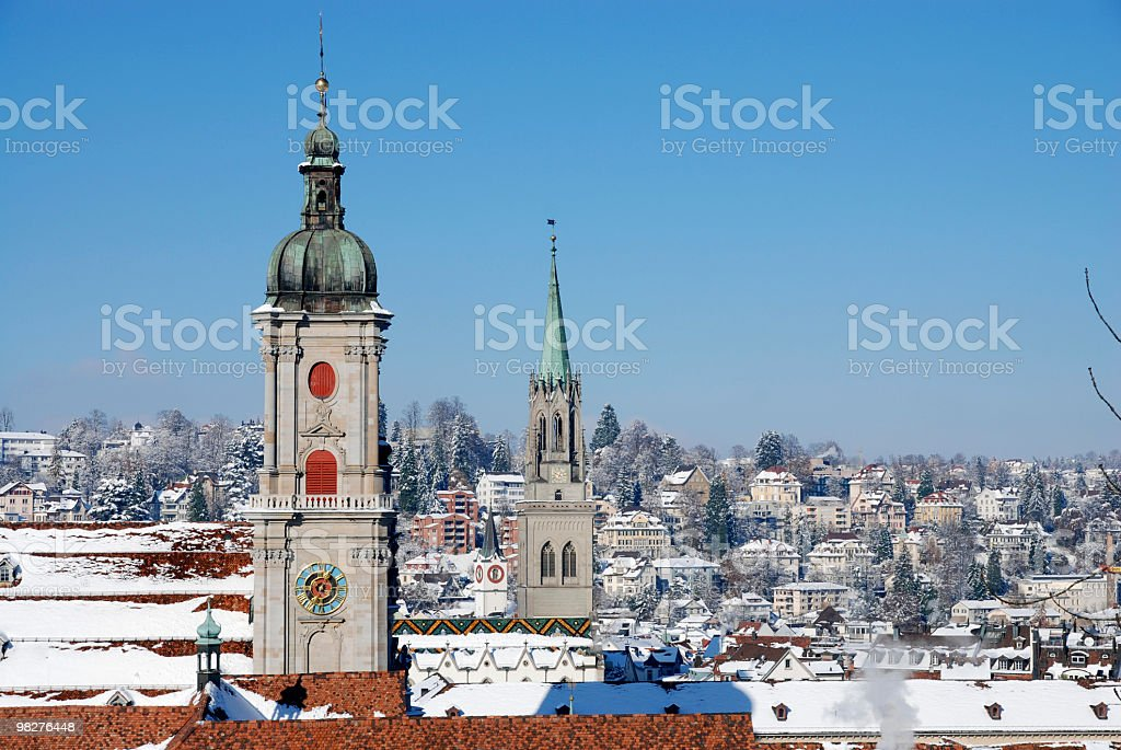 View over St.Gallen in winter stock photo