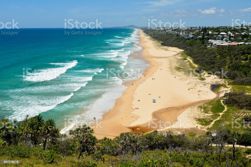 View over Sunshine Beach south of Noosa, QLD stock photo